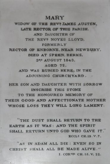 Memorial to Mary Austen, second wife of James Austen, St. Nicholas Church, Steventon