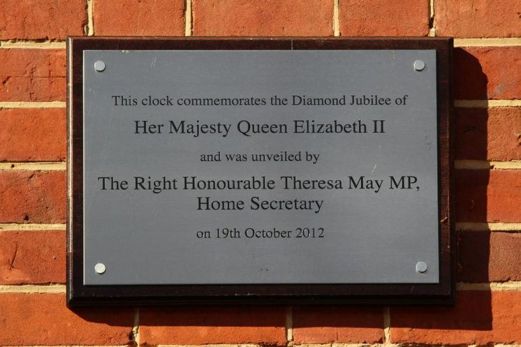 Plaque, Queen Elizabeth II Diamond Jubilee, unveiled by Theresa May 2012, Sonning