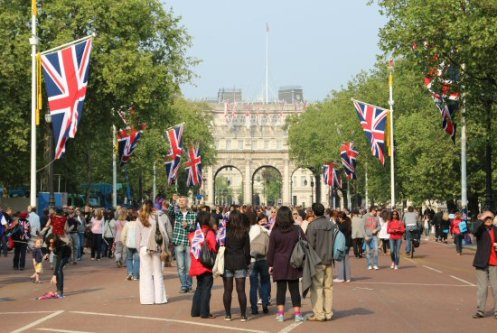 Admiralty Arch, The Mall. Royal Wedding, Prince William and Kate, 29th April 2011