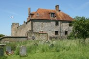 Amberley Castle, (Country House Hotel) from St. Michael's Churchyard, Amberley