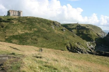 Camelot Castle Hotel and Tintagel Castle, from Barras Nose, Tintagel