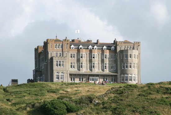 Camelot Castle Hotel, from Barras Nose, Tintagel