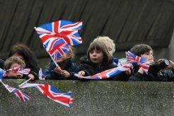 Children waving Union Jack flags, Queen's Diamond Jubilee, Thames Pageant