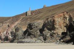 Cliffs below Wheal Coates Mine, Chapel Porth beach, St. Agnes