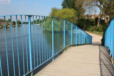 Footbridge over River Thames and Walton Marina, Walton-on-Thames