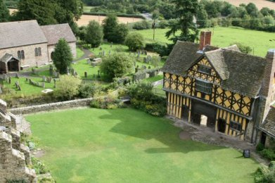 Gatehouse, Courtyard and St. John the Baptist Churchyard, from South Tower, Stokesay Castle