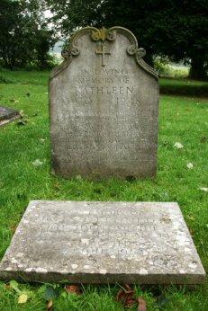 Grave of Kathleen Cavendish, sister of President J.F. Kennedy and Memorial stone, St. Peter's Churchyard, Edensor