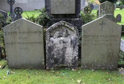 Graves of William and Mary Wordsworth, daughter Dora and her husband Edward Quillinan, St. Oswald's Churchyard, Grasmere