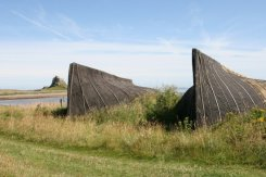Upturned herring boat stores, Holy Island, Lindisfarne
