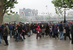 Hungerford Bridge and Charing Cross Station, Queen's Diamond Jubilee, Thames Pageant