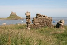 Lindisfarne Castle and ruins of Fort Osborne, on The Heugh, Holy Island, Lindisfarne