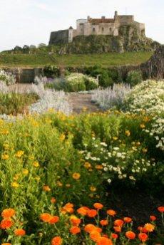 Lindisfarne Castle, from Gertrude Jekyll Garden, Holy Island