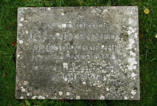 Memorial stone to commemorate John F. Kennedy's visit to his sister's grave, 29th June 1963. St. Peter's Churchyard, Edensor