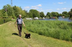 My husband and Misty, my puppy, Thames Path, Chertsey
