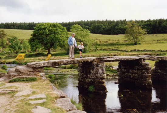 My husband and son, Clapper Bridge, Postbridge, Dartmoor