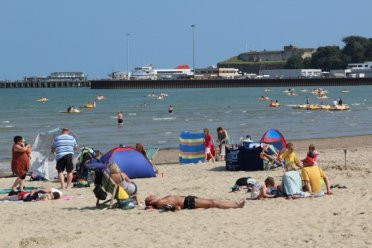 Nothe Fort and Ferry Terminal, from beach, Weymouth