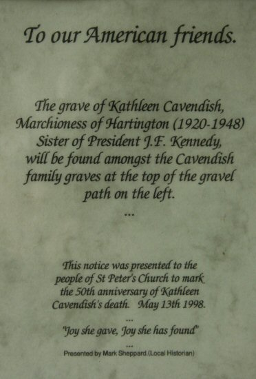 Notice to mark the 50th anniversary of Kathleen Cavendish's death. Porch, St. Peter's Church Edensor
