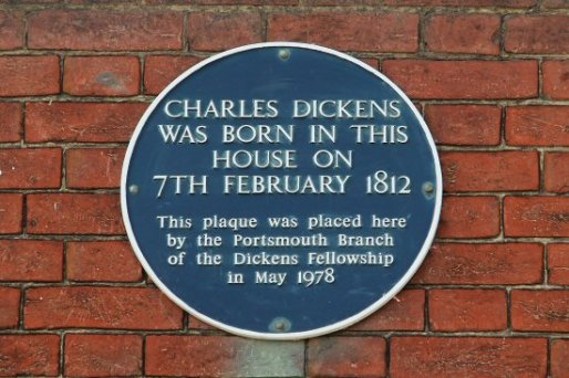 Plaque, Charles Dickens' Birthplace Museum, Portsmouth