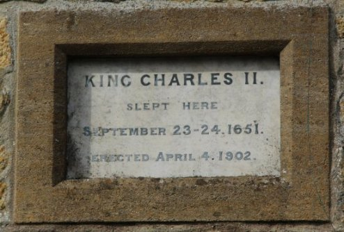 Plaque, King Charles II slept here 1651, cottage, Broadwindsor