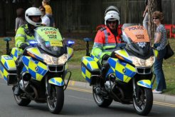 Police motorcyclists. London – Surrey Cycle Classic Race, 14th August 2011