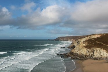 Porthtowan Beach and St. Agnes Head, from cliff path, Porthtowan