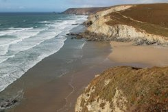 Porthtowan Beach, from cliff path to Portreath