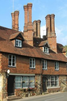 Pugin Chimneys above Farriers Cottage and Not the Old Pharmacy, Albury