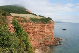 Red sandstone cliffs, Sandy Bay and High Peak, near Ladram Bay