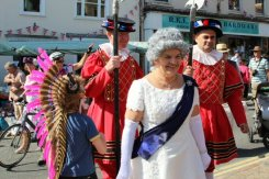 Royal visitor and Beefeaters, Bridport Hat Festival, 2012, Bridport