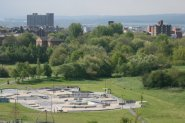 Skate Plaza, from viewpoint of reclaimed coal slag heap, Central Forest Park, Hanley, Stoke-on-Trent