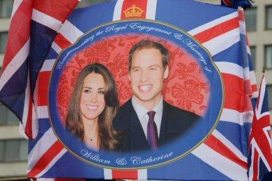 Souvenir flag. Royal Wedding, Prince William and Kate, 29th April 2011