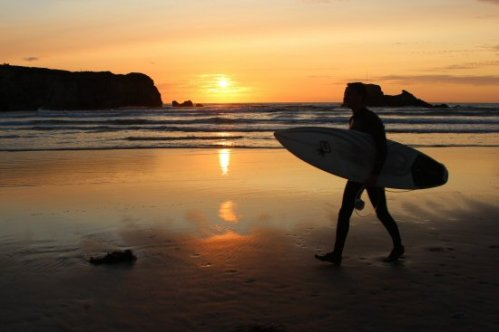 Sunset, surfer, Perranporth