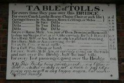 Table of Tolls for crossing The Iron Bridge, Ironbridge