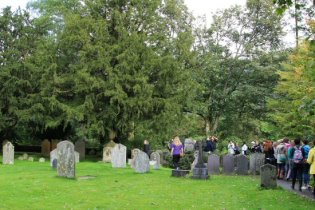 Visitors to The Wordsworth Graves, St. Oswald's Churchyard, Grasmere