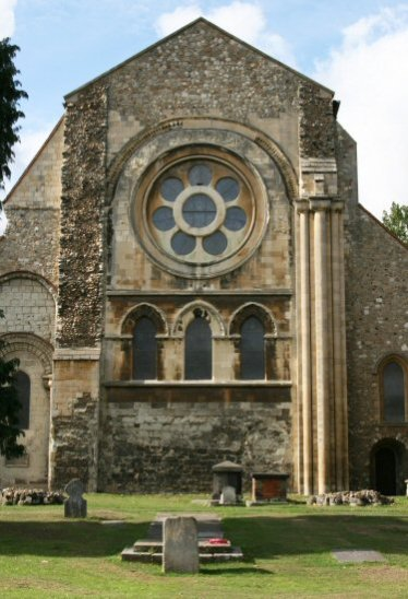Waltham Abbey Church, with King Harold Memorial Stone in foreground, Waltham Abbey