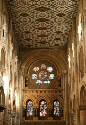 East window and nave ceiling, Waltham Abbey Church, Waltham Abbey