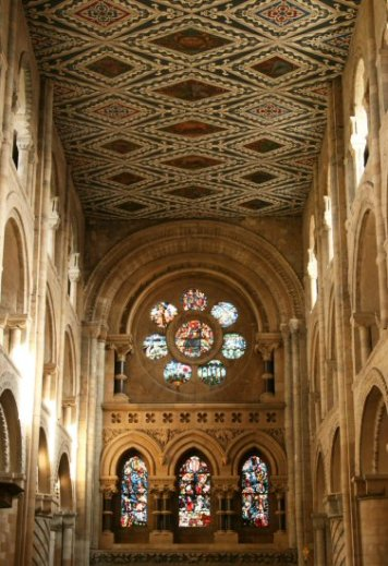 East window and nave ceiling, Waltham Abbey Church, Waltham Abbey