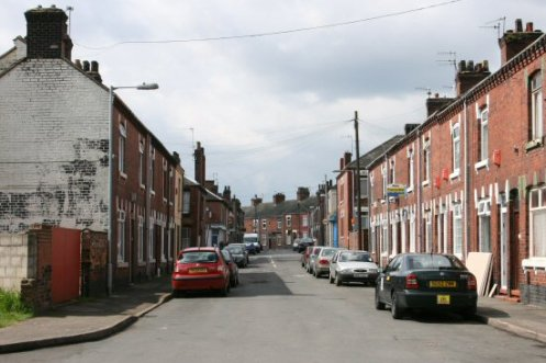 Wayte Street, looking to Portland Street, from edge of Central Forest Park, Hanley, Stoke-on-Trent