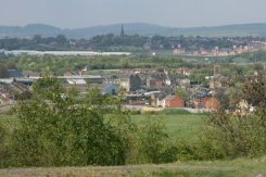 Woolstanton Church, from viewpoint of reclaimed coal slag heap, Central Forest Park, Hanley, Stoke-on-Trent