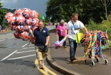 Balloon and souvenir sellers, Dorking. Women's Olympic Road Cycling Road Race, 2012
