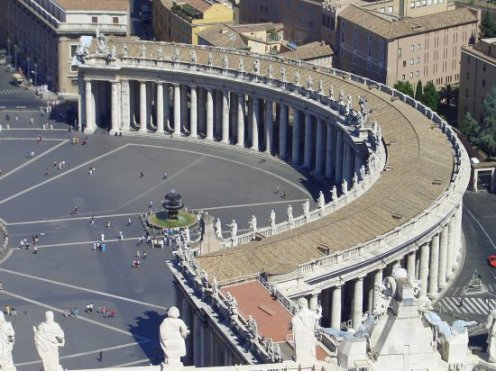 Bernini's Colonnade, St. Peter's Square, from the Cupola of St. Peter's Basilica, Rome