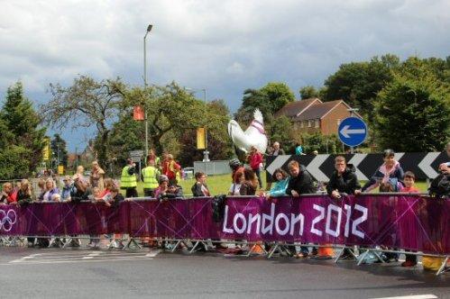 Cockerel, Deepdene roundabout, Dorking. Women's Olympic Road Cycling Road Race, 2012