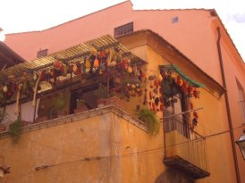 Colourful gourds, hanging to dry in a street in Sorrento