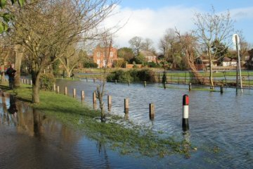 Flooded Ferry Lane, Laleham. Floods February 2014