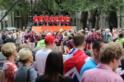 Guardsmen and Games Makers. Olympic and Paralympic Victory Parade 2012