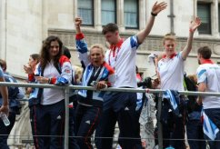 Gymnastics and Handball float. Olympic and Paralympic Victory Parade 2012