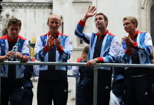 Hockey float. Olympic and Paralympic Victory Parade 2012