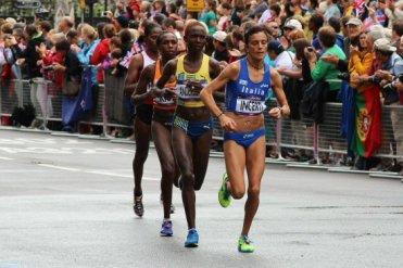 Incerti, Italy, Andersson, Sweden, Kibet, Netherlands and Haydar, Turkey. Women's Olympic Marathon, 2012