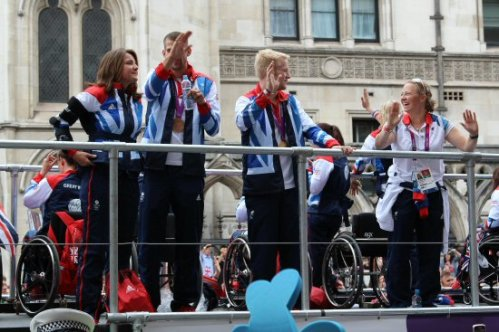 Jonnie Peacock, T44 100m. Olympic and Paralympic Victory Parade 2012
