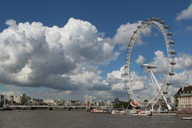 London Eye, River Thames panorama. Women's Olympic Marathon, 2012